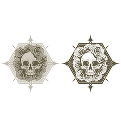 Cool skull with roses and spikes tattoo set vector image