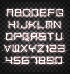 glowing white neon alphabet vector image vector image
