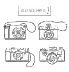 Hand drawn photo cameras set vintage vector image vector image