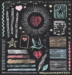 Hand Drawn Vintage Faux Bois Chalk Elements Set vector image