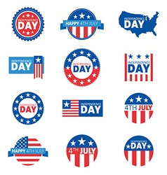 Label and tag set independence day 4th of July vector image