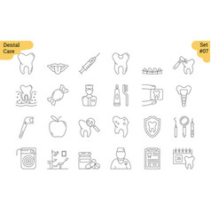 linear icon set 7 - dental care vector image vector image
