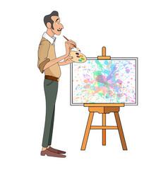 Portrait of male painter artist and mustache vector
