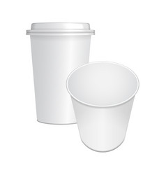 set of realistic paper coffee cup with white cap vector image vector image