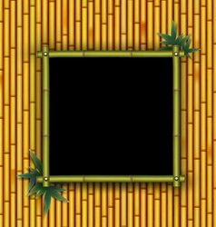 Bamboo frame on the bamboo background vector image vector image