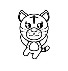 cartoon tiger animal outline vector image