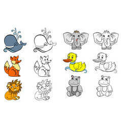 coloring with animals vector image vector image