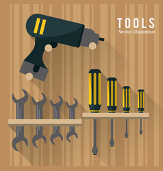 Drill wrench screwdriver tool icon graphic vector