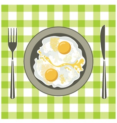 Fried eggs in a plate vector image vector image