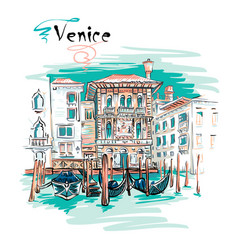 palazzo on the grand canal in venice italia vector image vector image