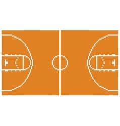 pixel art basketball sport court layout retro 8 vector image vector image