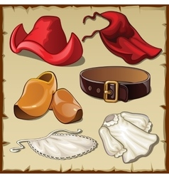 Set of womens clothing in vintage style six items vector image