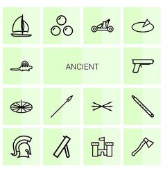 14 ancient icons vector