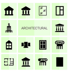 14 architectural icons vector