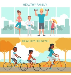 Active Family Horizontal Banners vector image