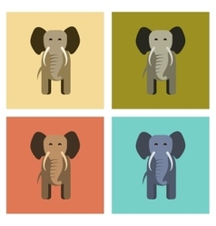 assembly flat icons nature cartoon elephant vector image