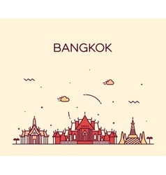 Bangkok skyline trendy linear vector