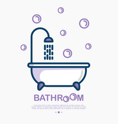 bathtub and shower with running water and bubbles vector image