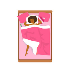 Beautiful african woman sleeping in her bed vector
