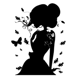 Beauty Girl Silhouette with Leaf Beautiful woman vector