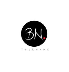 Bn handwritten brush letter logo design vector