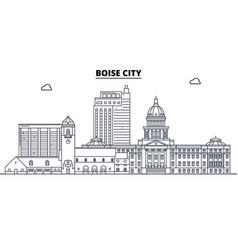 boise city united states outline travel skyline vector image