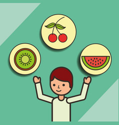 Boy cartoon with fruits cherry kiwi strawberry vector