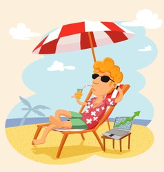 Businessman working on the beach vector image
