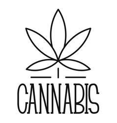 Cannabis leaf logo outline style vector