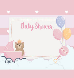 card teddy bear and balloons with carriage vector image