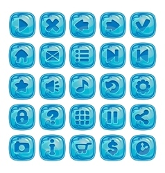 Cartoon blue square buttons vector image