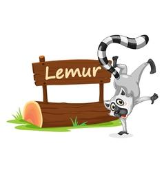 Cartoon zoo lemur sign vector image
