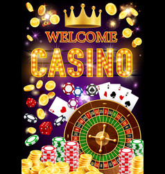 casino roulette dice chips poker cards money vector image