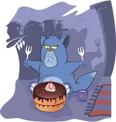 Cat and cake Cartoon vector image