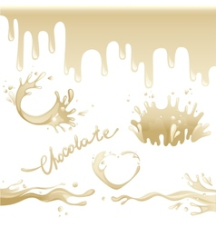 Chocolate splashes set vector image
