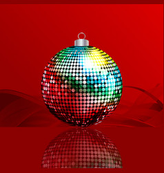 Christmas bauble and reflection on red and waves vector
