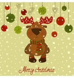 Christmas postcard with deer and snow vector