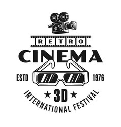 cinema festival emblem label badge logo vector image