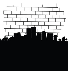 city in black vector image