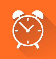 clock icon flat design with long shadow on orange vector image