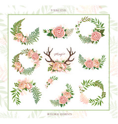collection of holiday wreaths rustic magic floral vector image