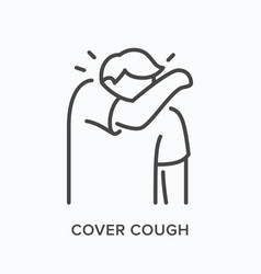 coughing person line icon outline vector image