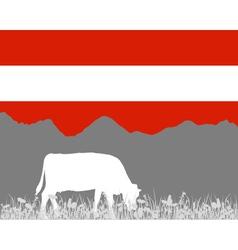 Cow alp and austrian flag vector