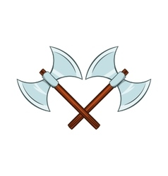 Crossed ancient battle double axes icon vector