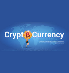 Crypto currency horizontal banner woman holding vector