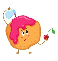 Cute and funny freshly baked donut bun scone vector