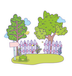 cute arrow guide wooden with tree in landscape vector image