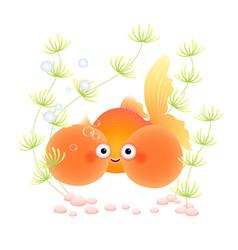Cute cartoon bubble eye goldfish vector
