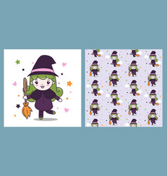 cute witch girl with fly broom with pattern vector image
