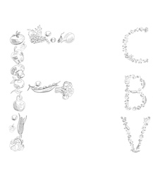 decorative font with fruit and vegetable letter c vector image